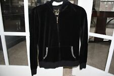 Victoria's Secret Plush and Lush MEDIUM Black Velour Full Zip Hoodie with Bling