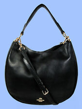 COACH  36026 NOMAD Black Glove  tanned Leather Hobo Shoulder Bag Msrp $495.00