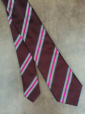 PAUL SMITH 100% SILK MAROON, PINK & SILVER DIAGONAL STRIPE TIE MADE IN ITALY