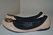 $225+ Tory Burch CAROLINE Nude W Black Trim Leather Ballet Flat Shoes Sz 10
