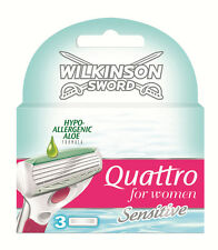New Genuine Wilkinson Sword Quattro For Women Razor Blades - 3 Pack Refill