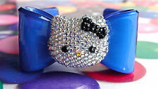 Handmade Crystal Silver Rhinestones hello kitty Blue Acrylic Bow Bangle Bracelet