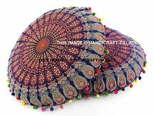 "2 PC Large Indian Meditation Floor Pillow Pouf Cover 32"" Mandala Round Cushions"