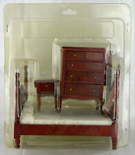5 Piece Miniature Doll House Bedroom Furniture Cherry Wood Aztec Dresser Bed Vtg