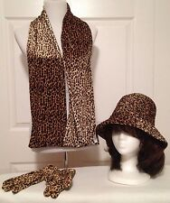 Womens Leopard Print Velour Scarf, Gloves, and Hat