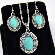 Fashion Jewerly Tibetan Style Turquoise Oval Necklace Earrings SETS XL294