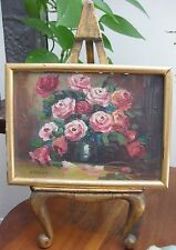 Small Oil On Board Red Roses Gold Gilt Frame Florentine Easel Signed Knight