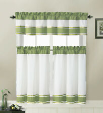 Sage and White 3 Piece Kitchen Window Treatment Set with Pintuck Accent Stripes