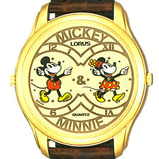 Mickey And Minnie Mouse, Gold Tone Dual Time Easy Read, Lorus Watch! Unworn $169