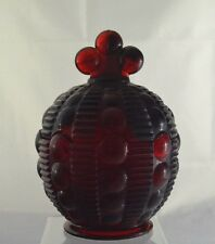 Candy Dish Vintage Round with Lid Unique Shape Ruby Red Glass