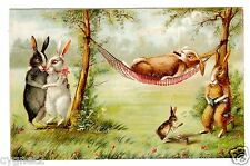 POSTCARD FRENCH RABBITS RELAXING OUTDOORS UNSIGNED BOULANGER