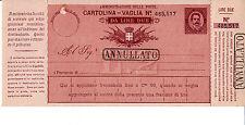 REGNO - CARTOLINA VAGLIA 10c 2 LIRE 1890 - Varietà A piccola - Nuova