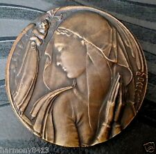 XXRARE SAMF LARGE ART DECO BRONZE MEDAL - ANGELS & CHALICE by P.M. DAMMANN n° 62