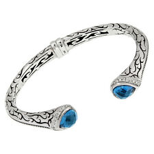 Scott Kay London Blue Topaz Engraved Sterling Silver Open Cuff Bracelet B1637SPA