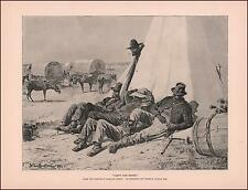 WINSLOW HOMER, BLACK SOLDIERS REST AGAINST ARMY TENT, MULES, antique print 1888