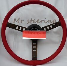 FOR MG TF MIDGET 53-55 REAL RED ITALIAN LEATHER STEERING WHEEL COVER TOP QUALITY