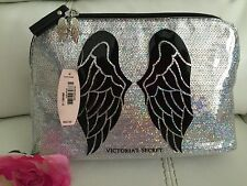 New Victoria Secret Bling Silver Cosmetic Makeup Bag Big Angel Logo Wings Black