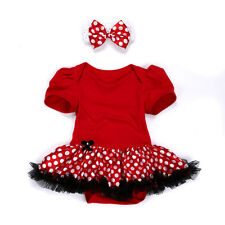 Baby Girl Clothes Newborn Headband+Romper Bodysuit Party Dress Tutu Red 0-3M