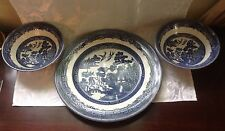 """10.25"""" Johnson Bros.Blue Willow Ironstone Plate & Two Matching  Fruit Bowls"""