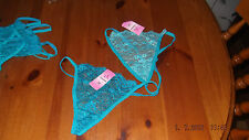 deep turquoise blue floral lace g-string, size small