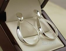 925 Sterling Silver Plated Oval Hoop Dangle Drop Earrings - UK - New -91