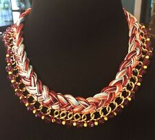 TALBOTS Signed Gold Tone~Multi-Color Beaded & Thread Necklace~NWOT