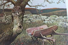 vintage 70s print Old Wheel Barrow rock fence by Eric Sloane
