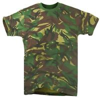 ARMY WOODLAND DPM CAMO T-SHIRT Mens XL Military top khaki camouflage cotton tee