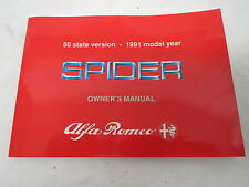1991 ALFA ROMEO Spider OWNER'S MANUAL literature book Veloce