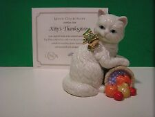 LENOX KITTY'S THANKSGIVING Cat sculpture NEW in BOX with COA November Kitten