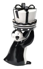 Black and White Penguin with a Present Salt and Pepper Shaker Set