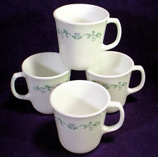 4 CORELLE Corning COUNTRY COTTAGE Coffee MUG Tea CUP Lot PURPLE GREEN Band SET