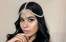 GOLD Pearl Rhinestone Jeweled Head Piece Hair Jewelry Bride Wedding Boho
