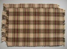 """Country Plaid Burgundy, Sage, Cream Cotton Placemats Set of 2 """"Grist Mill"""""""