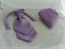 <GG> Dark Lilac-BOYS Polyester Ruche Wedding Tie-Cravat and  Hankie Set>Page Boy