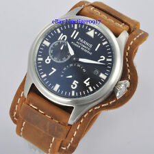 47mm Parnis Vintage Strap Seagull Power Reserve Automatic Big Size Date Watch