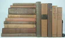 1902~SHAKESPEARE~Antique BROWN 14 Book Lot~Old Decorative Set~LADY OF THE LAKE