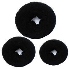 3 Pièces Éponge Femmes Chignon Anneau Donut Façonne Machine À 3 Tailles Noir
