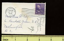 "US Mini-Cover  3 5/8"" x  2 5/8"" 1939 Arlington, Va to Washington DC"