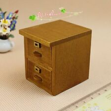 1/12 Scale Dollhouse Miniature 2 Drawers File Cabinet Whole Wood Furniture