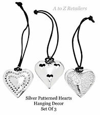 STUNNING SILVER PATTERNED HEARTS SET OF 3 HANGING DÉCOR HOME ORNAMENT GIFT NEW