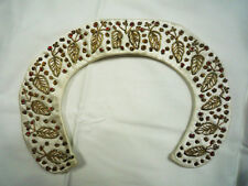 Vtg 1940s 1950s Women's Peter Pan Embroidered Leaf Satin Collar Gold Red Ivory S