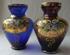 "2 BEAUTIFUL VINTAGE JAPANESE NORLEANS HAND PAINTED COLORED GLASS VASES 5""T"