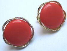 boucles d'oreilles à vis bijou vintage couleur or cabochon orange LISNER 122