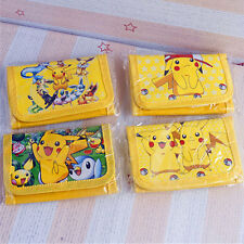 New Cartoon Character Pikachu Pokemon Wallet Trifold Zip Coin Purse Kids Party