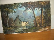 Vintage antique   Painting  Oil on canvas   Landscape    signed