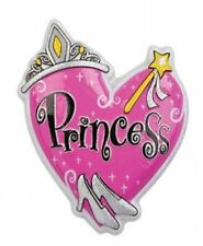 1 Princess Large Puffy Heart Tiara, Wand, Glitter Slippers Cake Topper