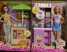 New Barbie 2 Pack Bakery Owner & Smoothie Chef Kiosks Carts Furniture & Dolls