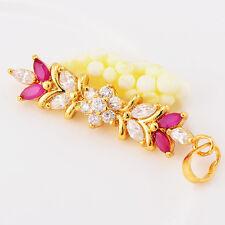 Flower 14K Yellow Gold Filled Crystal Pendant Women Girls White/Red Lucky