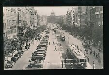 Czechoslovakia PRAG Prague Trams Wenceslas Square c1920s? RP PPC